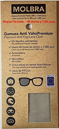 Molbra ® Gamuza Premium Microfibra Anti-Vaho - 48 Horas de Efecto y 1.000 Usos - Sin Líquidos Adicionales - Libre de P.F.O.A. - Reach Compliance (UE) - Nueva Fórmula 2021.