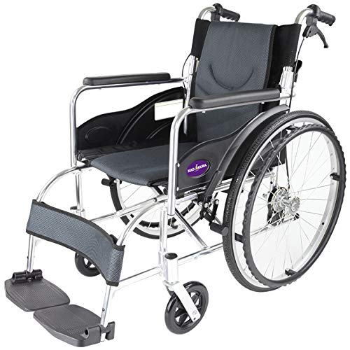 カドクラ 自走用車いす 車イス 車椅子 「ZEN-禅-」(深灰・ダークグレー) G102-DG 軽量 コンパクト 背折れ 折りたたみ ノーパンクタイヤ バンドブレーキ メーカー保証1年付き カドクラ