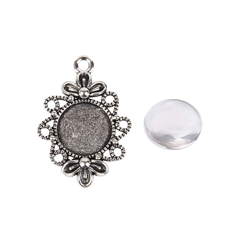 ARRICRAFT 20 Sets Alloy Antique Silver Flower Pendant Cabochon Settings with Round Glass Cabochon Cover for DIY Pendant Making, Tray 12mm