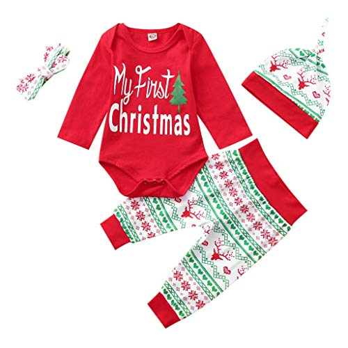 Fossen My First Christmas Disfraz Navidad Bebe niño niña Ropa de Conjunto Monos + Pantalones + Sombrero (0-6 Meses, Rojo)
