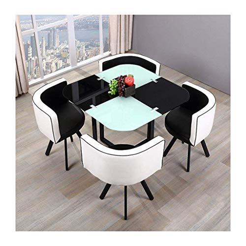 N/Z Daily Equipment Tempered Glass Tables Chairs Modern Home Dining 5 Piece Round Leisure Vintage PU Chair Cushioned Back Cafe Lounge Office Hotel (Color : Blue)