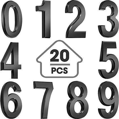 20 Pieces Self-Adhesive Door House Numbers Mailbox Numbers Street Address Numbers for Mailbox Signs, 0 to 9 (Black,1.97 inch)