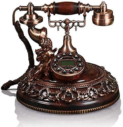 YUBIN Teléfono Estilo Europeo Antiguo Teléfono Moda Casa Creativa Teléfono Fijo (Color: Marrón, Tamaño: L25cm * H26.5cm) (Color: Blanco) Teléfono (Color : Brown)