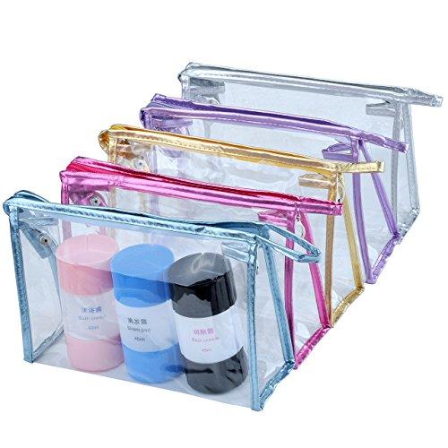 Mogoko Trousse de Toilette Sac de cosmétique Transparent pour Voyage Déplacement Vacance Business - Or/Argent/Rouge/Bleu/Violet (Couleur mélangée)