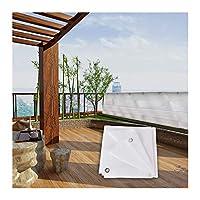 MAHFEI オーニング、金属アイレット付き シェード遮光ネッ パティオ プライバシーフェンス 屋外シェードセイル 庭園 日除けキャノピー 90%UVブロック (Color : White, Size : 2x6m)