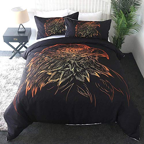 dsgsd Bedding Juego de Funda de Edredón Dibujo abstracto animal azor rojo anaranjado 180x220cm Juego de ropa de cama de 3 piezas, funda nórdica, funda de almohada, juego de sábanas para parejas, amant