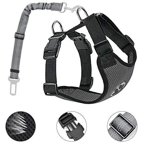 Lukovee Hundegeschirr mit Sicherheitsgurtfür alle alltäglichen und sportlichen Aktivitäten dem Vierbeiner luftdurchlässiges Reguläre Reisenweste Autosicherheitsgurt