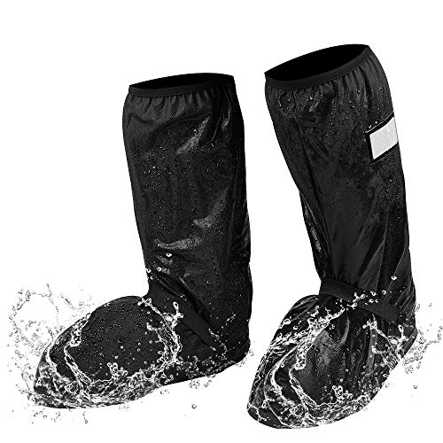 Rain Boot Covers, Waterproof Motorcycle Boots Cover for Men Size 7.5-8 Women 9-10 Anti-slip Rain shoe Cover with Reflective Strip Universal for Riding, Walking