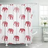 Semtomn Shower Curtain Alabama Red Elephant Large 72'x78' Home Decor Waterproof Bath Bathroom Curtains Set with Hooks