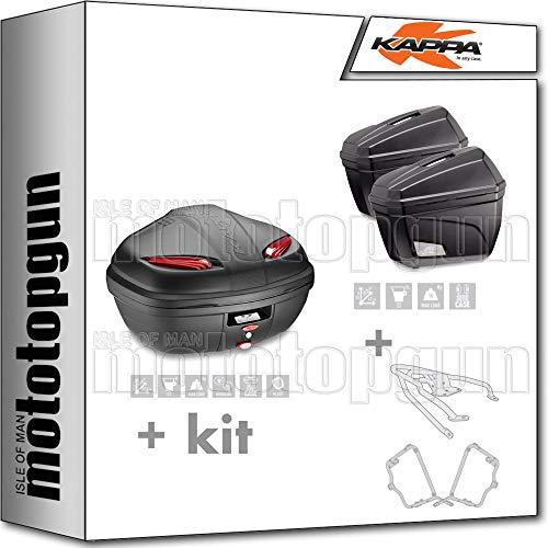 kappa maleta k47n + maletas laterales k22n + portaequipaje monolock + portamaletas lateral monokey compatible con triumph bonneville t100 2020 20