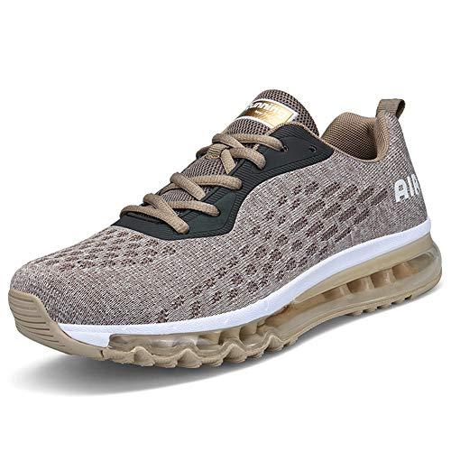 IceUnicorn Herren Damen Laufschuhe Fitnessschuhe Atmungsaktiv Gym Sportschuhe Straßenlaufschuhe Outdoor Turnschuhe Joggen Schuhe Freizeit Sneaker(8078-Golden,39EU)