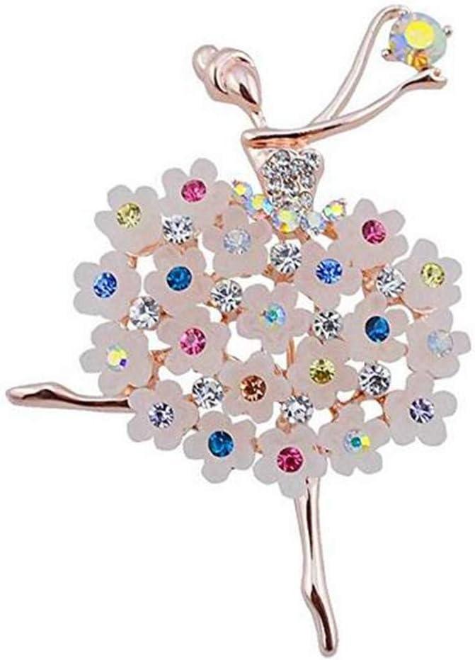 Timesuper Luxury Crystal Brooch Ballerinas Dancer Breastpin Colorful Flower Alloy Plated Women Girls Gift