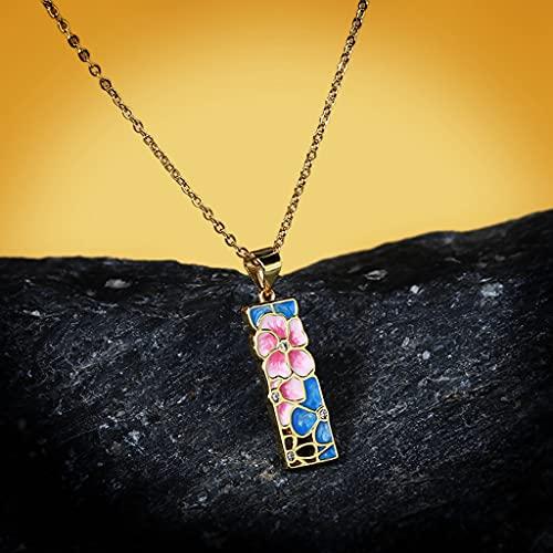 MIKUAU collarNuevo Exquisito Collar de epoxi de Color de Flor Rosa Plateado para Mujer, joyería de Moda, Esmalte Hecho a Mano