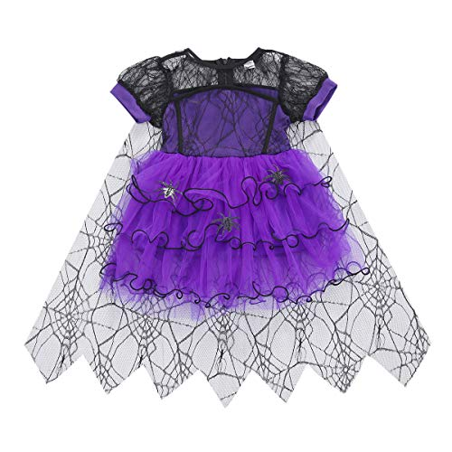 Toddler Baby Girl Halloween Costumes Spider Short Sleeve Halloween Dress Mesh Tutu Skirt Witch Cosplay Outfit Clothes (Purple, 3-4 Years)