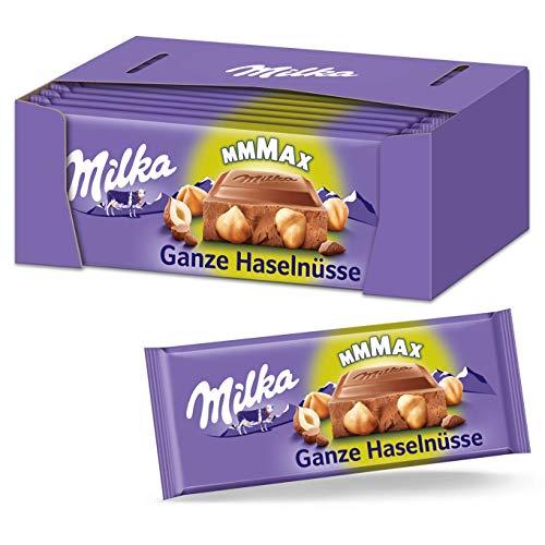 Milka Ganze Haselnüsse 13 x 270g Großtafel, Zartschmelzende Schokoladentafel mit ganzen Haselnüssen
