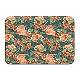 Hdyefe Yting - Alfombrilla antideslizante para el suelo con diseño de flores y calabazas, de goma, lavable, 40 x 60 cm