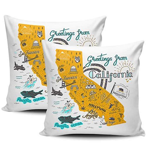 GodYo California Map, verpakking met 1 kussenslopen met touristenattracties, verborgen ritssluiting, kussenslopen met ritssluiting