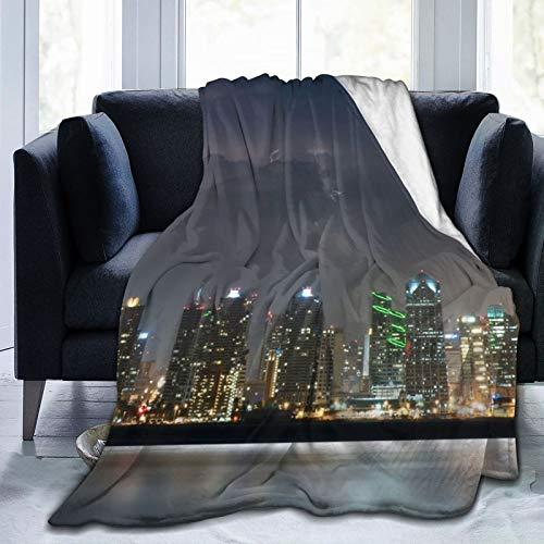 Affordable shop Fleece-Decke, 127 x 152,4 cm, San Diego City Night Fliver Home, Flanell-Fleece, weich, warm, Plüsch-Überwurf, Decke für Bett/Couch/Sofa/Büro/Camping