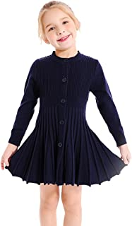 Little Girls Pleated Dress School Uniform Long Sleeve Button Front Knit Sweater Dress