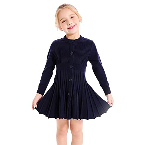8b6bac06a85 SMILING PINKER Little Girls Pleated Dress School Uniform Long Sleeve Button  Front Knit Sweater Dress