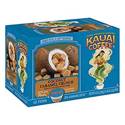 Kauai Coffee Single Serve Pods, Coconut Caramel Crunch Flavor – 100% Arabica Coffee from Hawaii's Largest Coffee Grower, Compatible with Keurig K-Cup Brewers - 48 Count