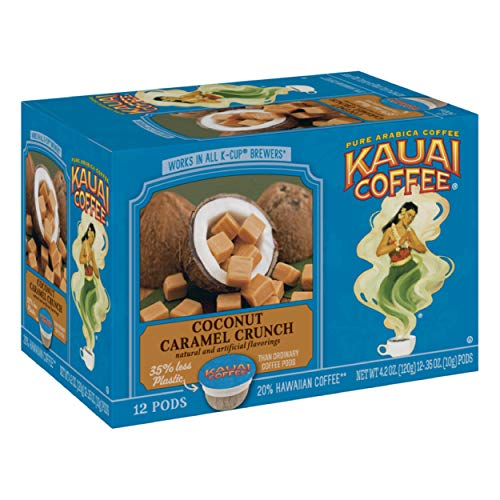 Kauai Coffee Single Serve Pods, Coconut Caramel Crunch Flavor - 100% Premium Arabica Coffee from Hawaii's Largest Coffee Grower, Compatible with Keurig K-Cup Brewers