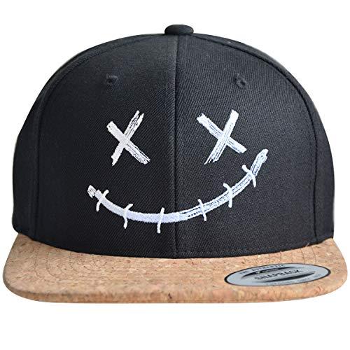 ** Snapback ** | Coole Cap für Herren und Damen | XX Smile Motiv | Basecap hochwertig Bestickt | Flexfit Caps (Black/Cork)