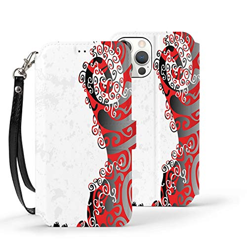 Y-Store Iphone12 Series Flip Case with Card Holder PU Leather+TPU Cover Trippy Abstract Shapes with Native Ethnic Effects In Colors Artistic Display Black White Red Silver