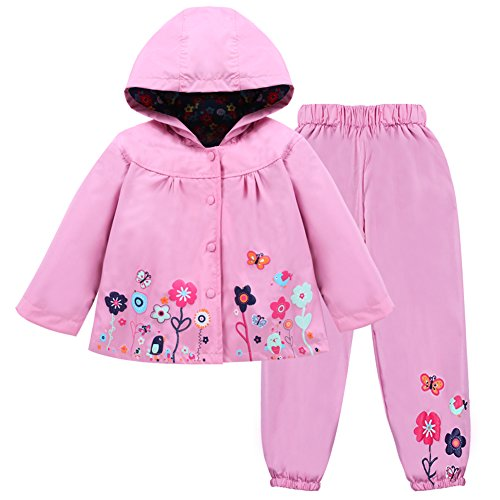LZH Mädchen Kinder Regenjacke mit Kapuze Regenhose 2pcs Bekleidungsset (4-5 Years(120), Pink)