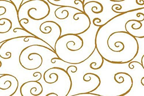 Rollo de 100 m x 80cm con Impresión de Diseños Espirales - Papel Celofán para Envolver Transparente con Adornos Dorados - 100 Metros - ROLLO DE VENTA AL POR MAYOR
