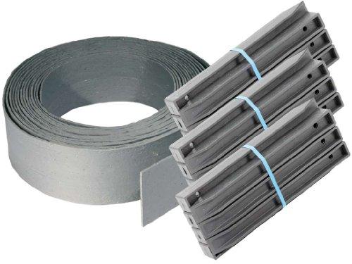 TRB Teichrandband 14 cm | 25 m Rolle + 30 Pfähle H-Profil 38 cm | Teichrandsystem | Teichrand