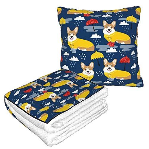 Dachshund - Manta de almohada de viaje con diseño de lluvia de paraguas (forro polar suave, 2 en 1)