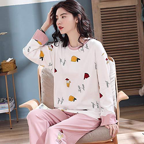 LSJSN Schlafanzug Langärmlige Pyjamas aus Baumwolle mit Comic-Print im Frühling und Herbst für Damenmode-Hauskleidung-L