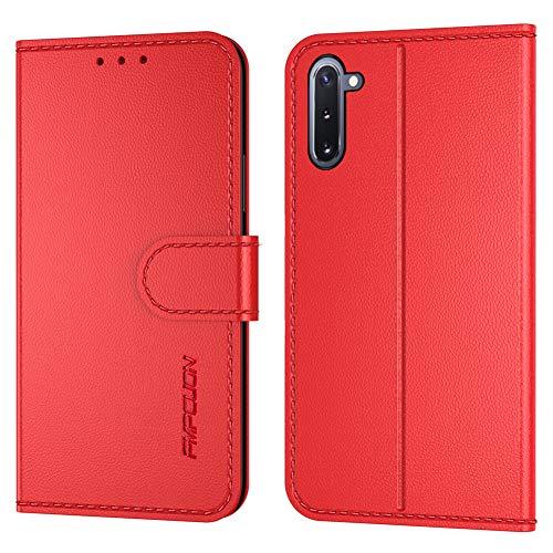 FMPCUON Handyhülle Kompatibel mit Xiaomi Mi Note 10(Neueste),Premium Leder Flip Schutzhülle Tasche Hülle Brieftasche Etui Hülle für Xiaomi Mi Note 10 Pro/CC9 Pro(6.47 Zoll),Rot