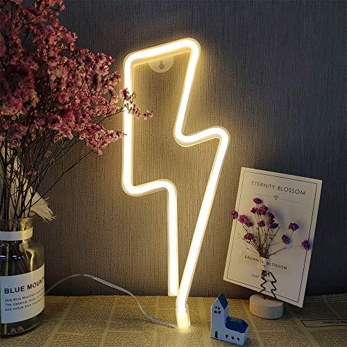 Foudre Neon Light Blanc Chaud foudre Neon Light Wall USB/LED alimenté par batterie signes foudre néon foudre Shaped Signs Neon Light pour la maison de Noël Fête de fête d'anniversaire de mariage (B