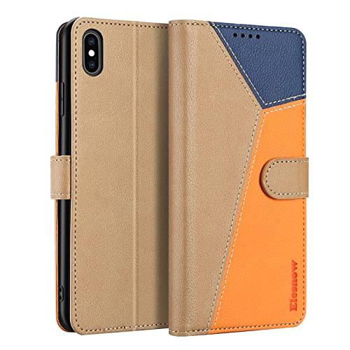 ELESNOW Funda para iPhone XS MAX con [Templado Protector de Pantalla] Carcasa Magnética Tarjetero Tapa de Cuero para Apple iPhone XS MAX - 6.5' (Caqui/Orange/Azul)