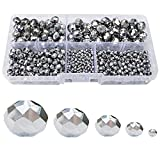 Chengmu 2-10mm Silvery Rondelle Glass Beads for Jewelry Making AB Colour 710pcs Faceted Briolette Shape Crytal Spacer Beads Assortments Supplies Accessories for Bracelet Necklace with Cord