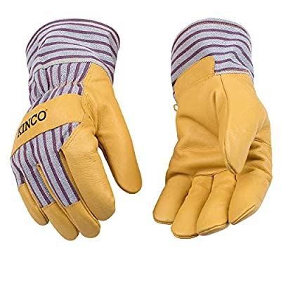 Kinco - Kid's Lined Premium Pigskin Leather Work and Ski Gloves, Heatkeep Thermal Insulation, Otto Striped Canvas, Safety Cuff, Fitted Elastic Wrist, (Style No. 1927)