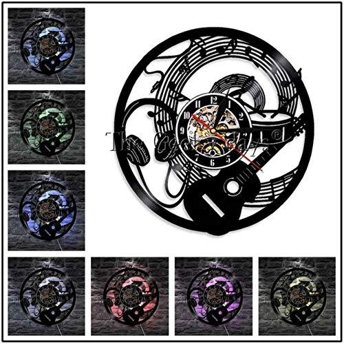 MNHI Musikinstrument Schallplatte Wanduhr Modernes Design Gitarren- und Schlagzeug-Kits Rockmusik LED-Uhr Wanduhr Home Decor, F-7 LED-Farbe