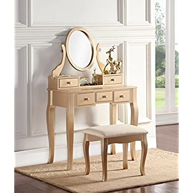 Roundhill Furniture 3418GL Ashley Wood Makeup Vanity Table and Stool Set, Gold