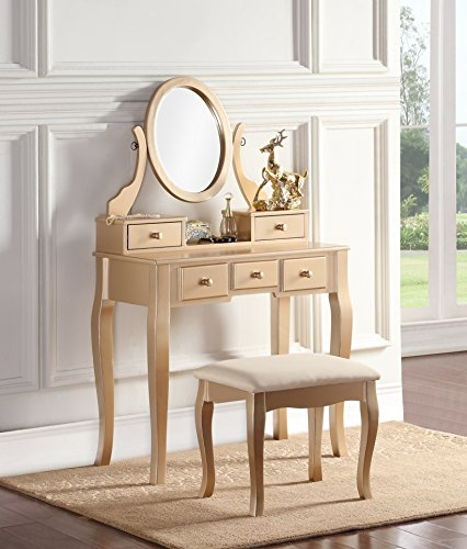 Roundhill Furniture Ashley Wood Makeup Vanity Table and Stool Set, Gold
