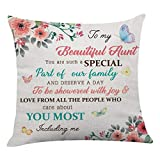 onederful Aunt Gift Throw Pillow Cover with The Saying for Aunt from Niece and Nephew,Birthday Christmas Ideas for Aunt Sofa Living Room- to My Beautiful Aunt