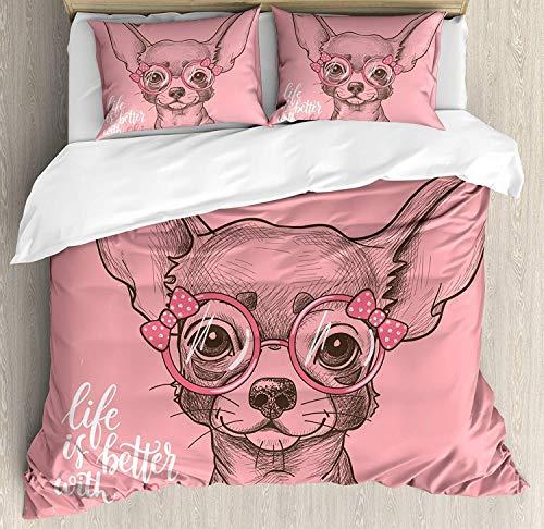 Rorun Perro niña Chihuahua Dibujo ilustración con Palabras Moda Gafas Cintas Cachorro,Juego de Ropa de Cama con Funda nórdica de Microfibra y 2 Funda de Almohada - 140 x 200 cm