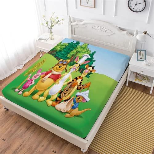 NFBZ Amacigana® Winnie The Pooh - Sábana bajera suave con goma elástica, 100% fibra de poliéster, tela decorativa, ropa de cama con funda de almohada (F03,90 x 200 cm)