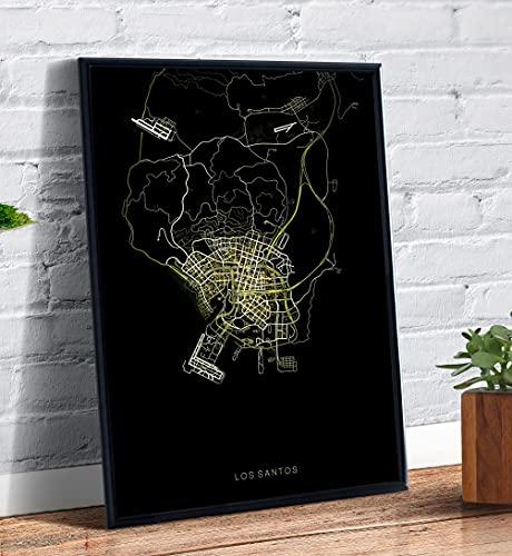 Quadro decorativo emoldurado A4 Mapa Gta 5 Los Santos Desenho Arte