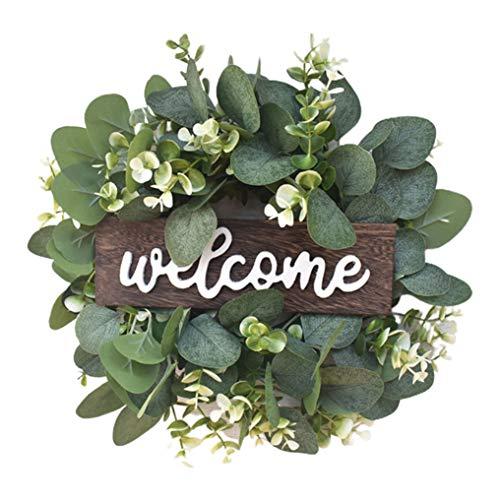 N-B Door Wreaths, Artificial Wreath Leaves Branch Garland Welcome Sign, 30cm Leafy Garland Wreath for Front Door Living Room Wall Garden Wedding Festival Decor