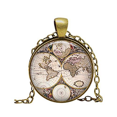 Collar con colgante de mapa del mundo antiguo Atlas imagen vintage collar de las mujeres accesorios