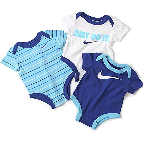 Nike Kinder JDI Stripe 3 Pack Set Bodysuit, Blue Gaze, 74