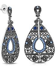 Vintage Bohemian Teardrop Beaded Costume Drop Dangle Stud Earrings w/Sapphire