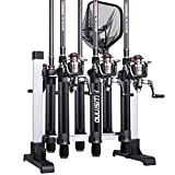 PLUSINNO Portable Fishing Rod Rack, Fishing Rod Holder Storage Organizer, Metal Aluminum Alloy Fishing Pole Ground Stand Display for Freshwater Salterwater Combos Gear Garage, Holds Up to 6 Rods